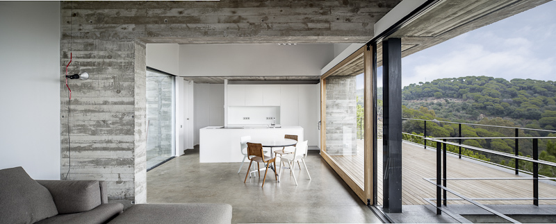 Living Room, Kitchen, Balcony, Concrete Home in Sant Pol de Mar, Spain