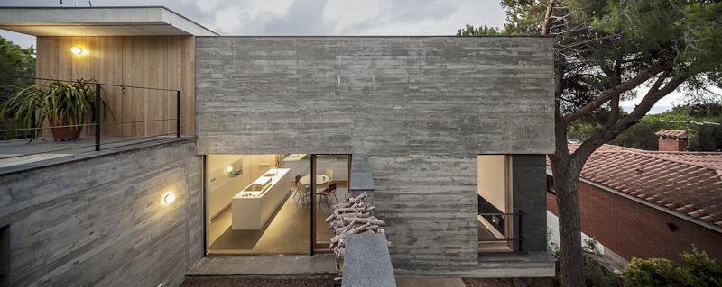 Terrace, Concrete Home in Sant Pol de Mar, Spain