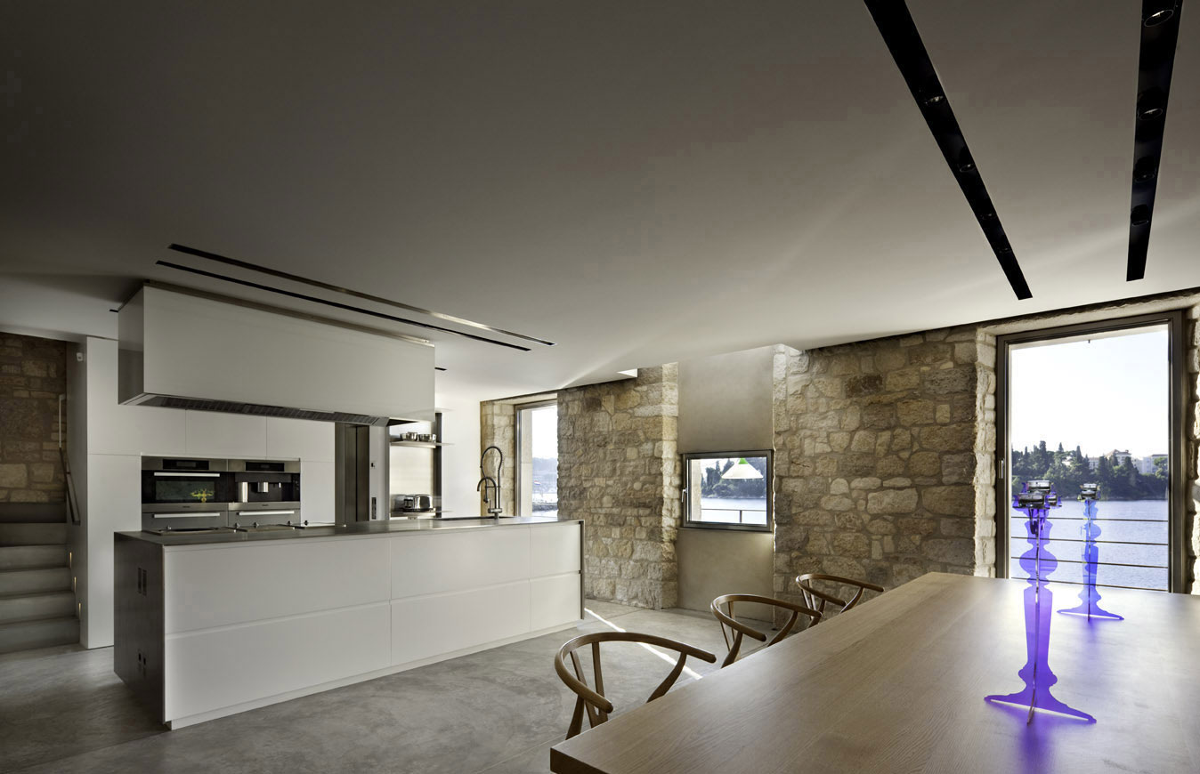 Kitchen, Dining Space, Renovation of an 18th Century Building in Rovinj, Croatia
