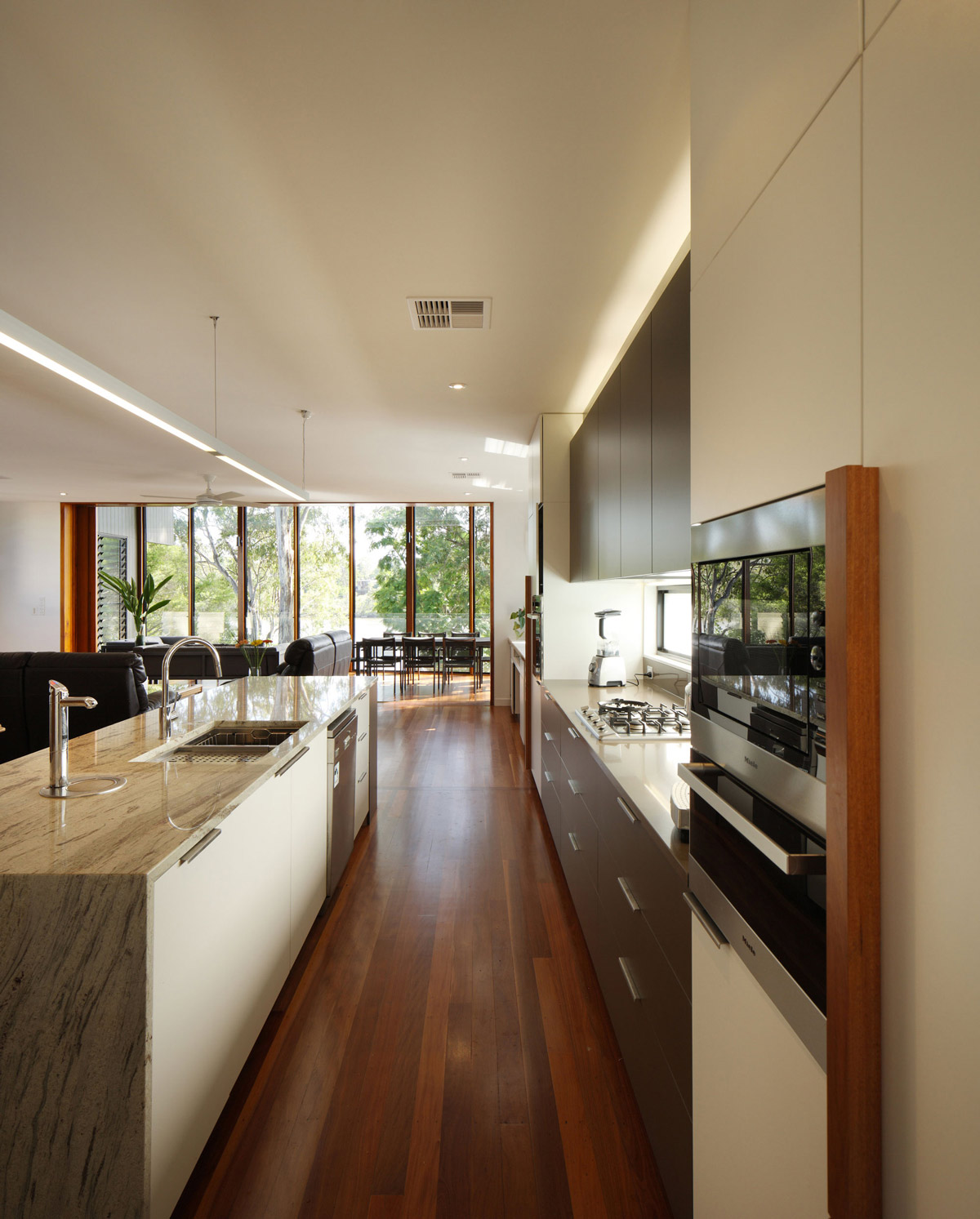 Kitchen Island, Light Marble Counter, Renovation and Extension in Chelmer, Brisbane