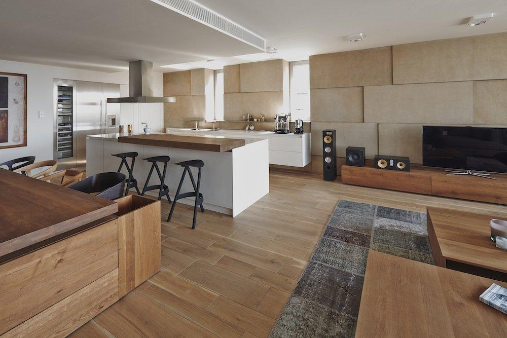 Open Plan, Kitchen, Living Area, Riverside Apartment in Bratislava, Slovakia