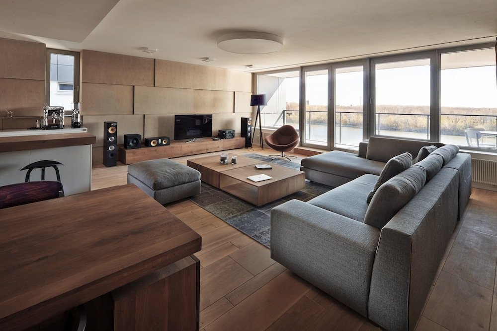 Living Room, Glass Walls, Patio Doors, Riverside Apartment in Bratislava, Slovakia