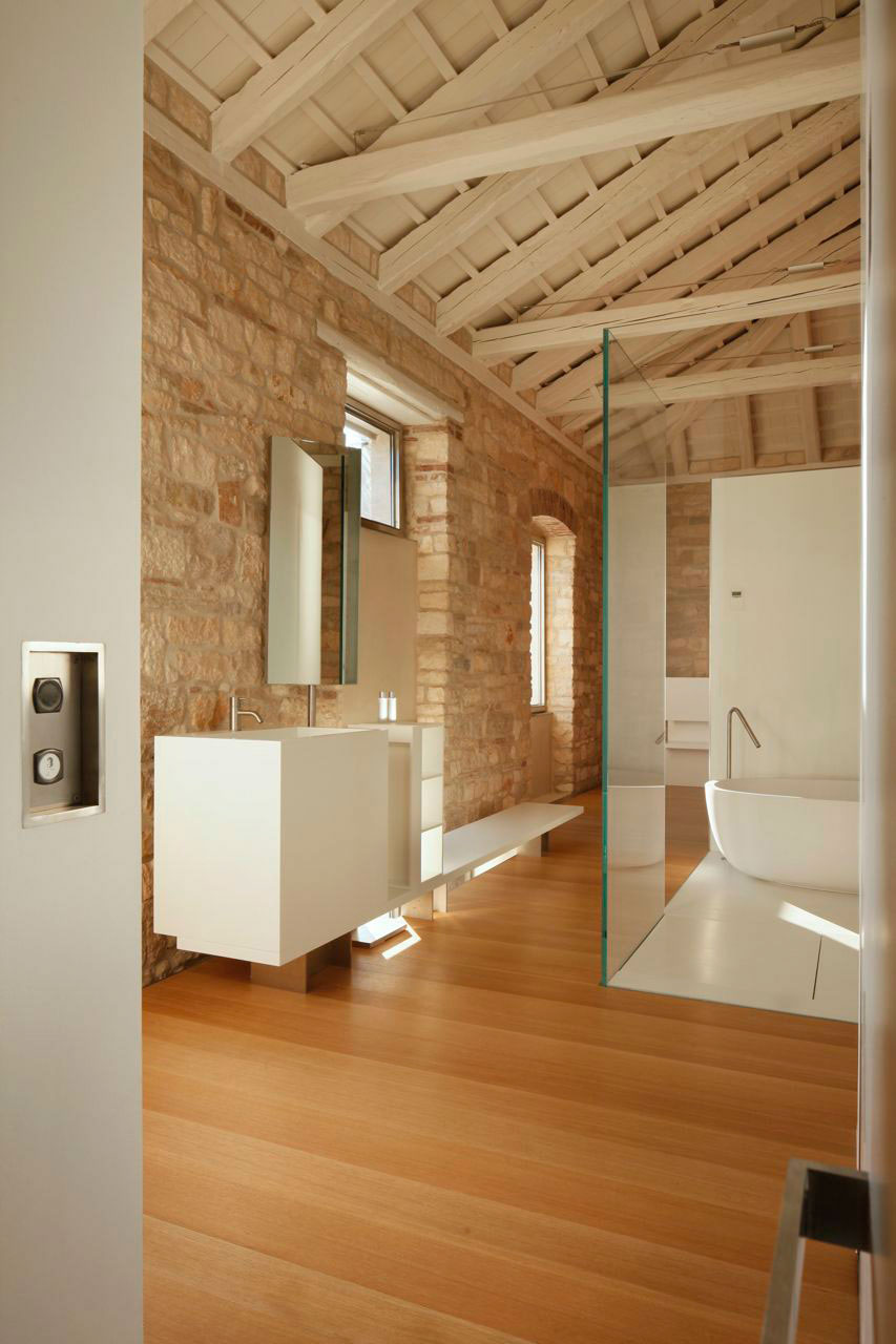 Modern Bathroom, Glass Walls, Renovation of an 18th Century Building in Rovinj, Croatia