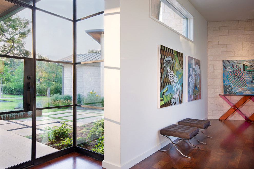 Glass Entrance, Art, Gorgeous Modern Home in Austin, Texas