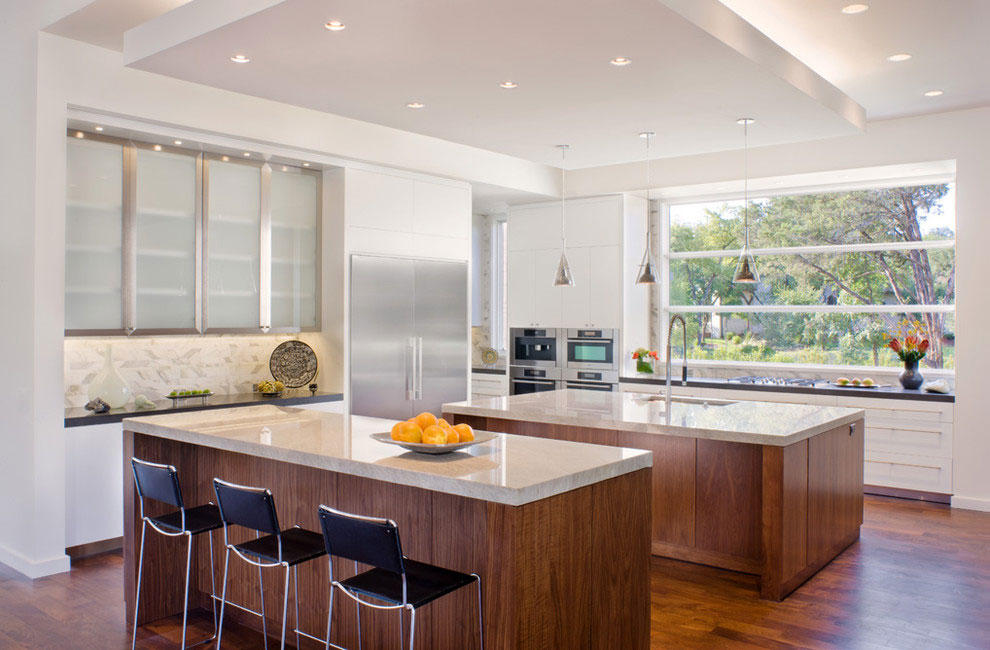 Kitchen Island, Gorgeous Modern Home in Austin, Texas