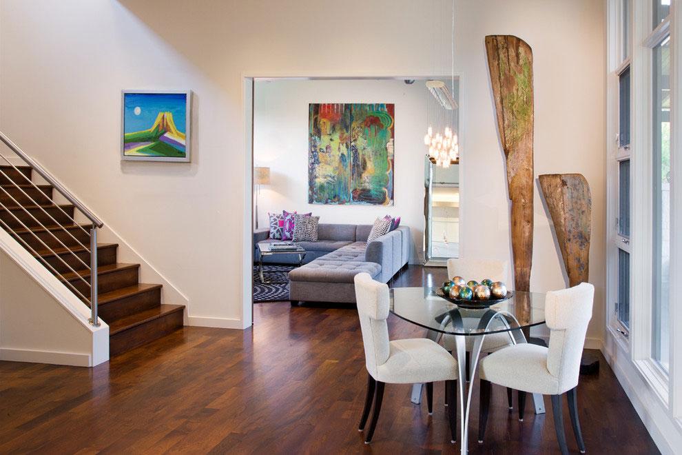Stairs, Dark Wood Floors, Gorgeous Modern Home in Austin, Texas