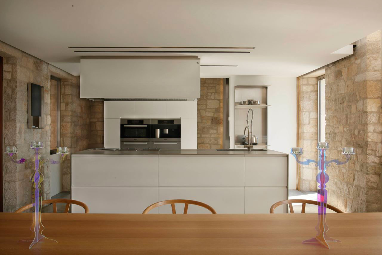 Modern Kitchen Island, Dining Table, Renovation of an 18th Century Building in Rovinj, Croatia