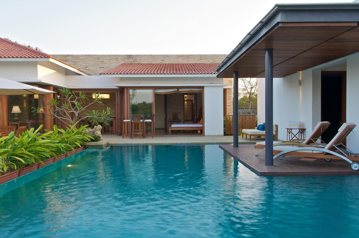 Outdoor Pool, Wooden Deck, Anish Amin House in Alibaug, India