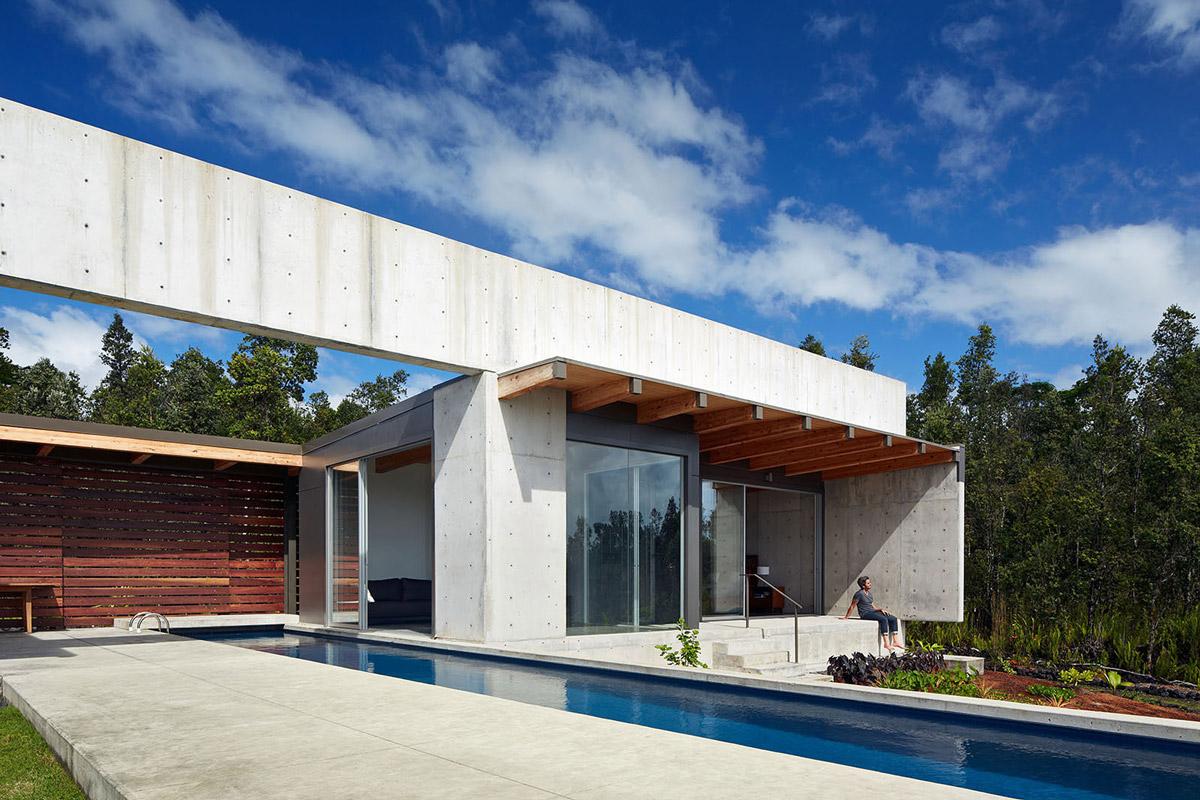 Pool, Terrace, Contemporary Home in Pahoa, Hawaii