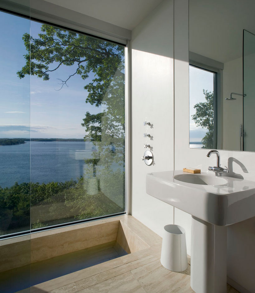 Bathroom, Bay Views, Elegant Glass and Steel Retreat on Shelter Island, New York