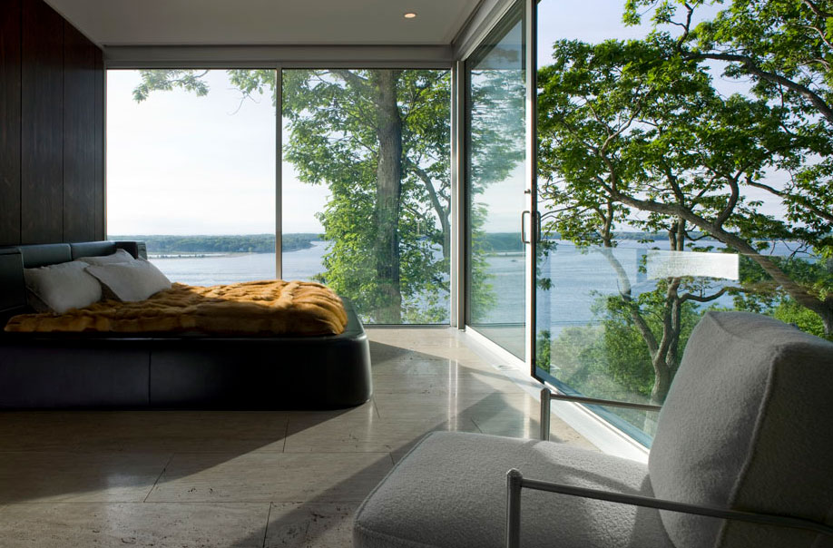 Bedroom, Water Views, Elegant Glass and Steel Retreat on Shelter Island, New York