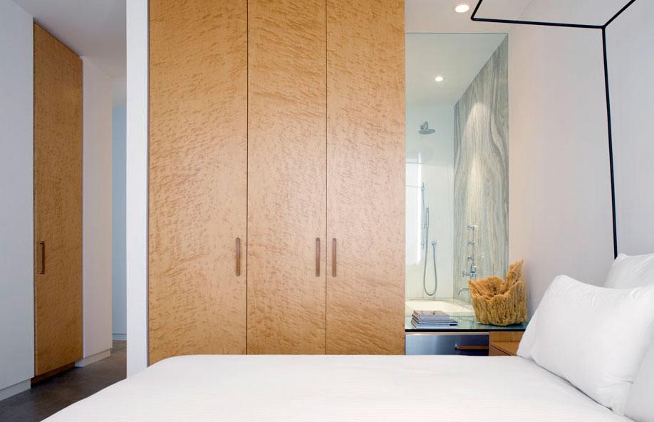 Bedroom, Elegant Glass and Steel Retreat on Shelter Island, New York