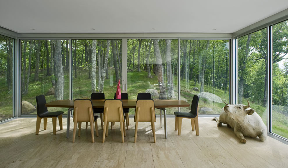 Dining Space, Glass Walls, Elegant Glass and Steel Retreat on Shelter Island, New York