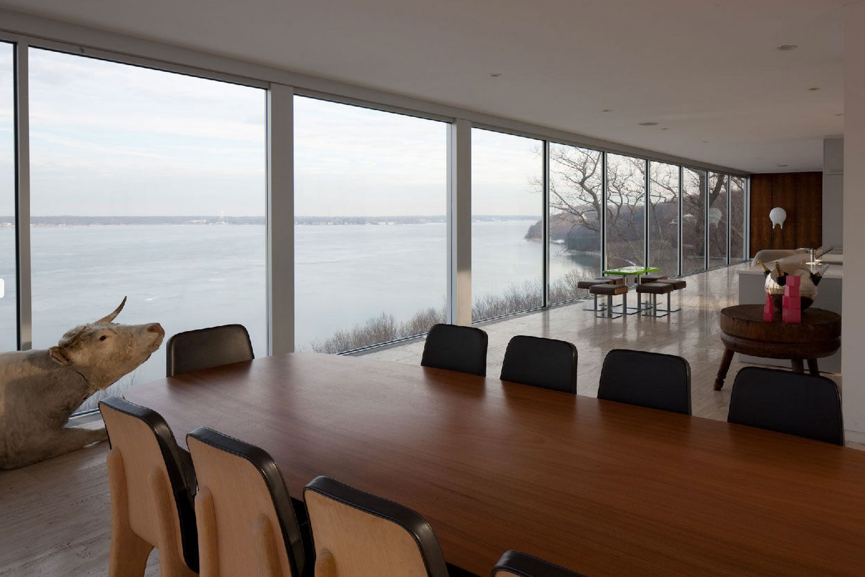 Dining Table, Glass Walls, Views, Elegant Glass and Steel Retreat on Shelter Island, New York