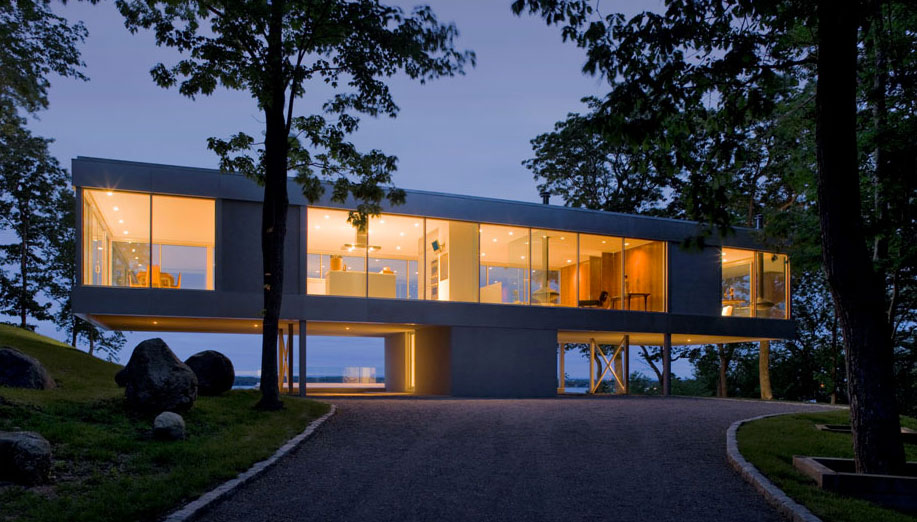 Dusk, Lighting, Elegant Glass and Steel Retreat on Shelter Island, New York