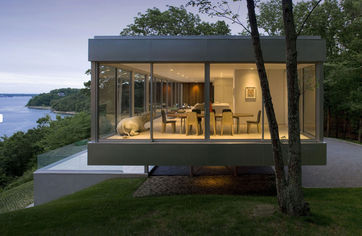 Evening, Lighting, Elegant Glass and Steel Retreat on Shelter Island, New York