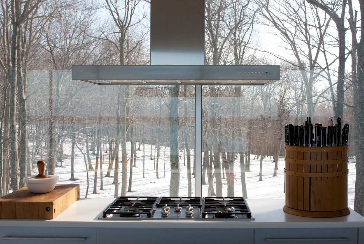 Kitchen, Elegant Glass and Steel Retreat on Shelter Island, New York