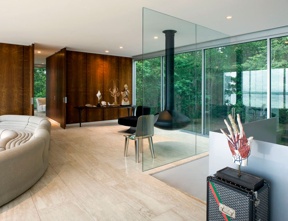 Modern Fireplace, Living Space, Glass Walls, Elegant Glass and Steel Retreat on Shelter Island, New York