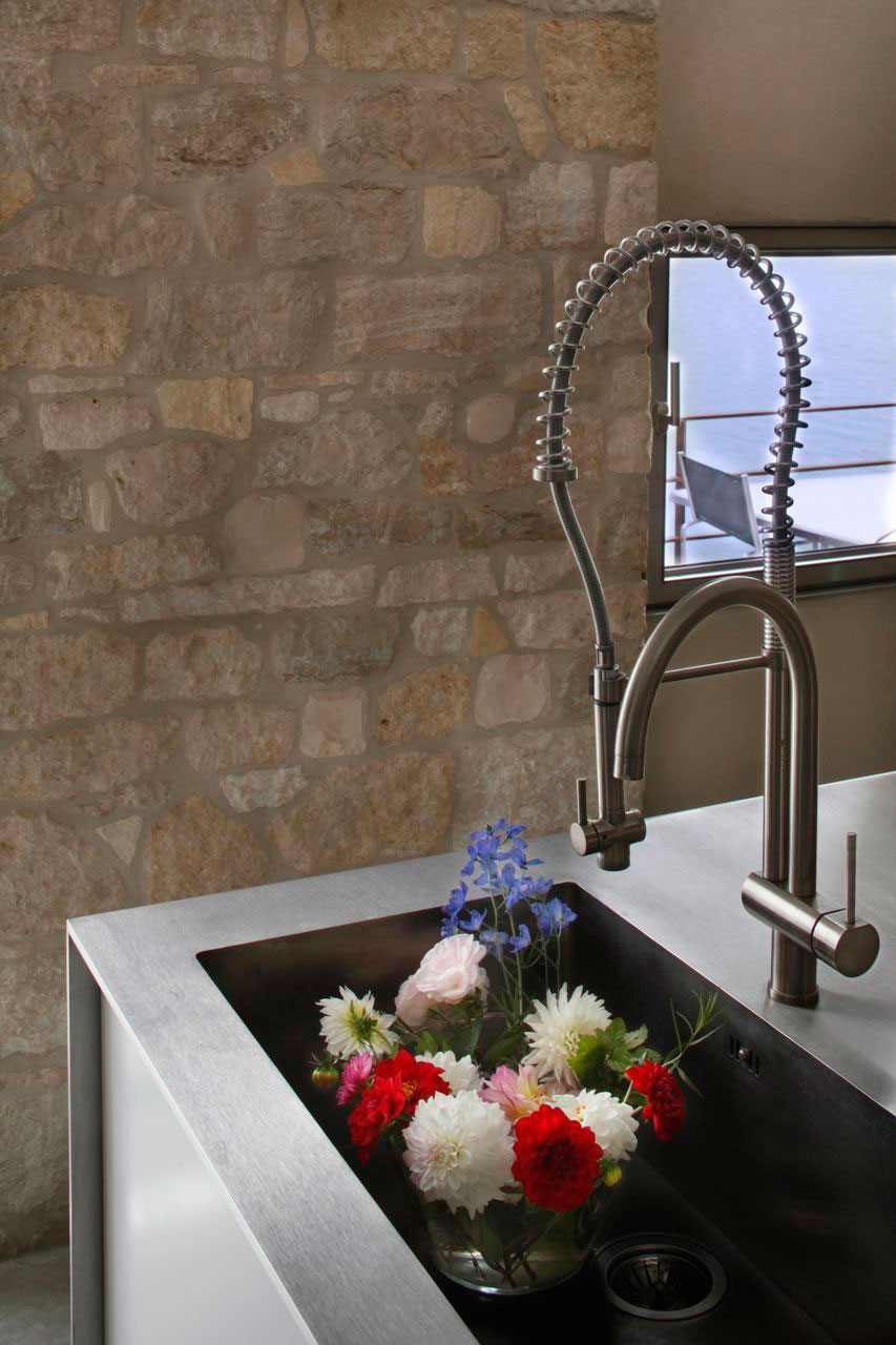 Stainless Steel Kitchen Sink, Renovation of an 18th Century Building in Rovinj, Croatia