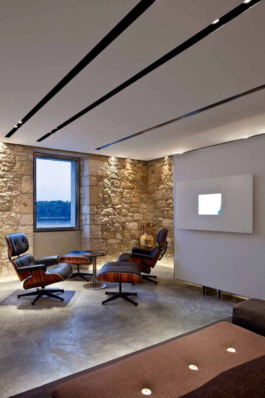 Stone Walls, Living Room, Renovation of an 18th Century Building in Rovinj, Croatia