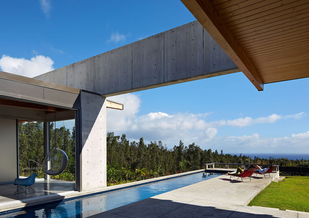 Terrace, Pool, Sea Views, Contemporary Home in Pahoa, Hawaii