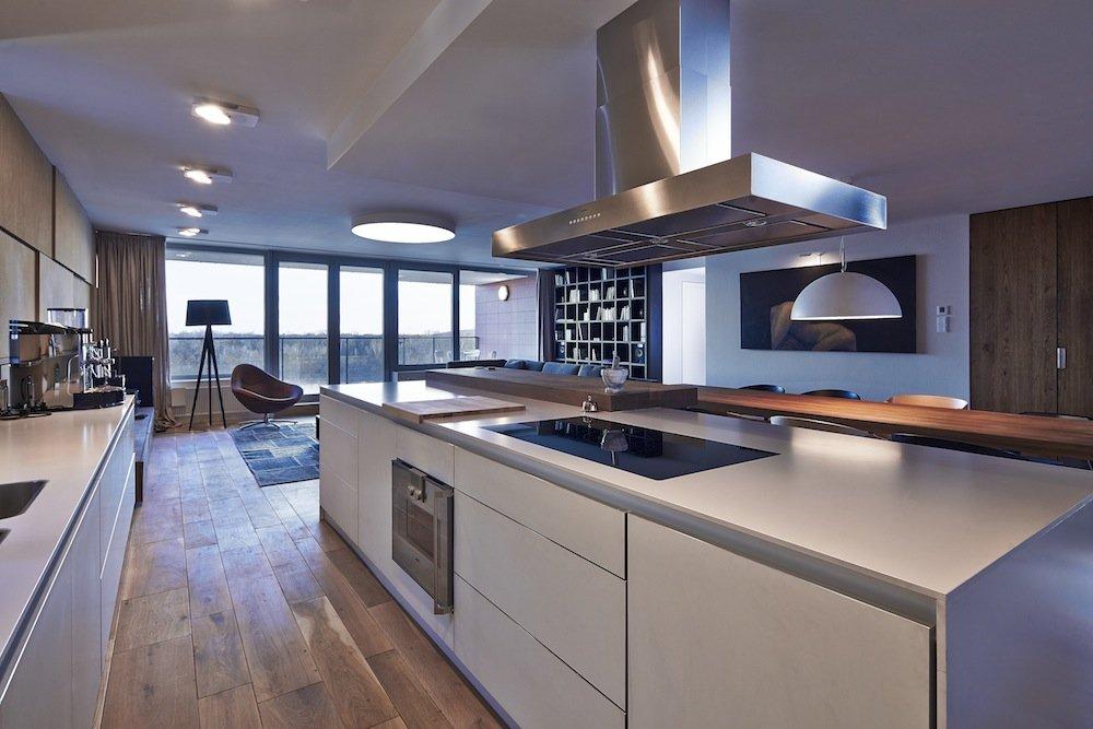 White Kitchen, Island, Riverside Apartment in Bratislava, Slovakia