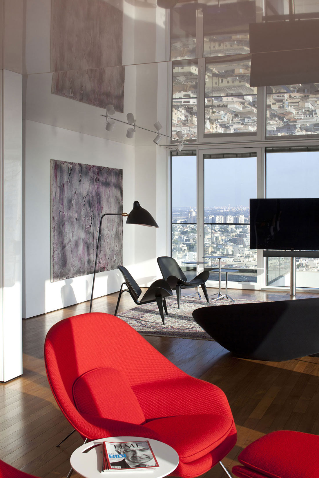 Art, Red Chair, Elegant Apartment with Reflective Ceiling in Tel Aviv, Israel