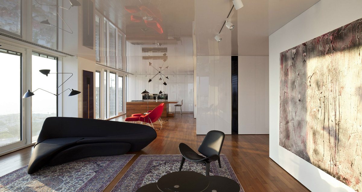 Art, Rugs, Sofa, Lighting, Elegant Apartment with Reflective Ceiling in Tel Aviv, Israel