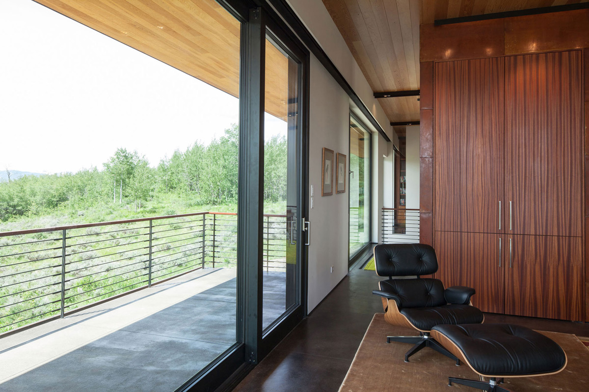 Balcony, Patio Doors, Hillside House in Jackson, Wyoming