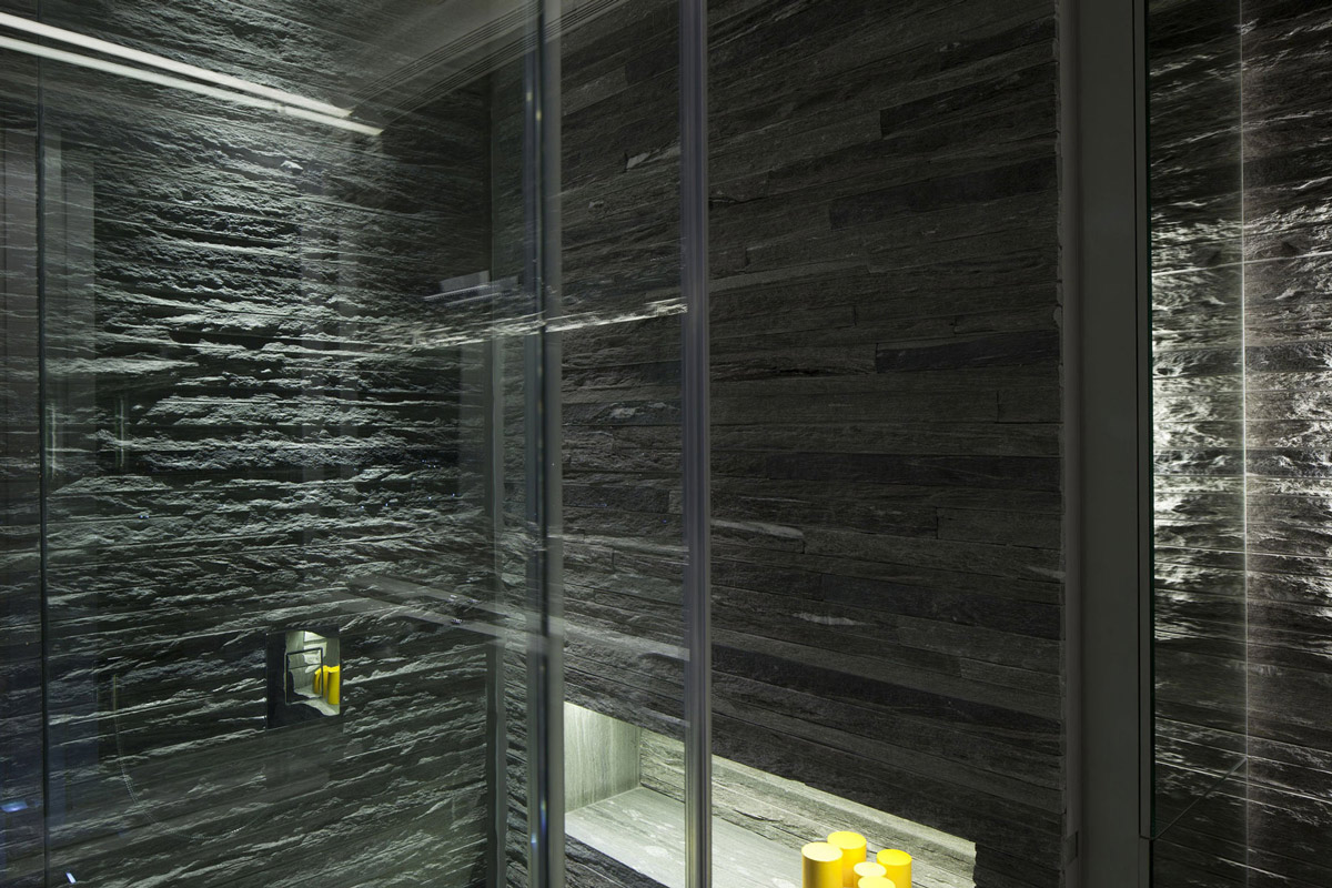 Bathroom, Lighting, Stone Tiles, Glass Walls, Elegant Apartment with Reflective Ceiling in Tel Aviv, Israel