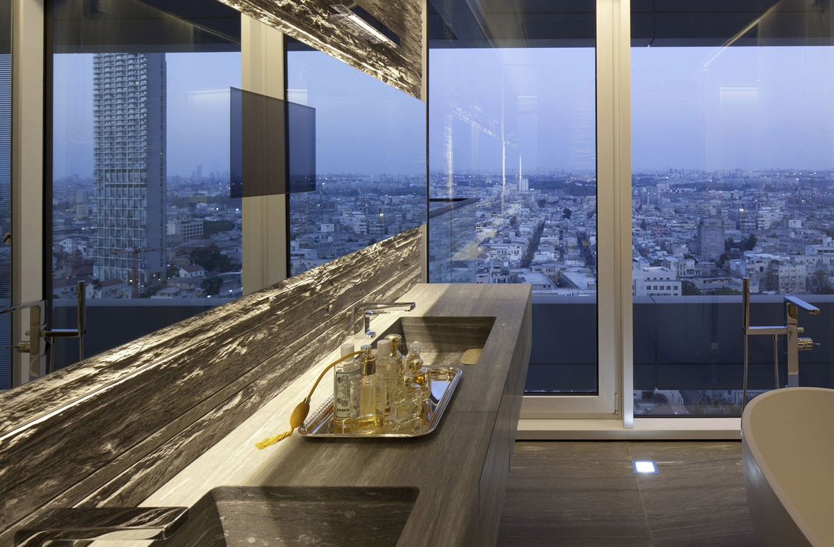 Bathroom Mirror, Glass Wall, City Views, Elegant Apartment with Reflective Ceiling in Tel Aviv, Israel