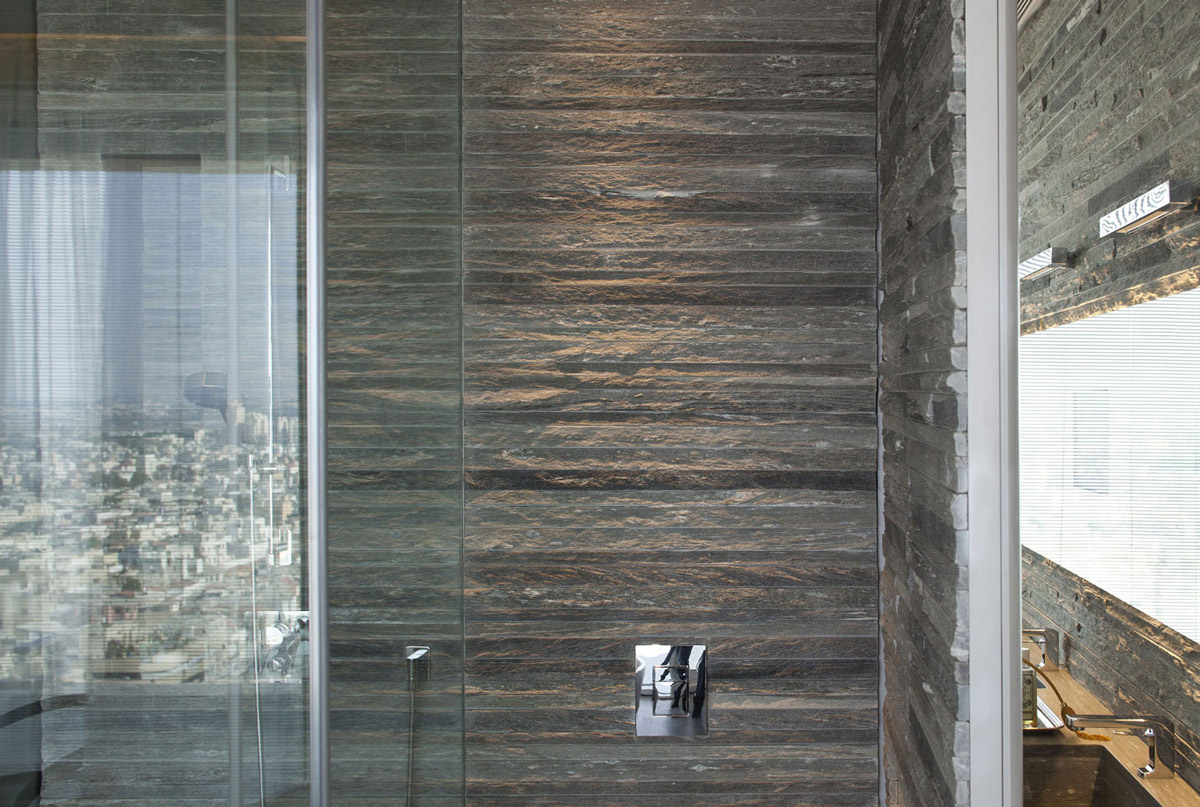 Bathroom, Rough Stone Tiles, Elegant Apartment with Reflective Ceiling in Tel Aviv, Israel