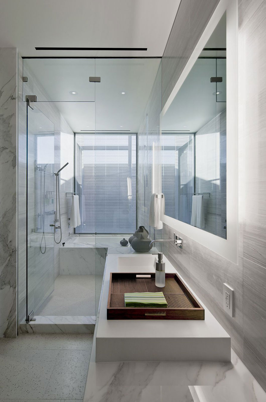 Bathroom, Shower, Marble Tiles, Glass Door, Massive Modern Home in Las Vegas
