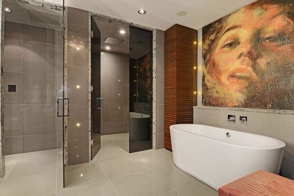 Smoked Glass Doors, Bathroom, Beautiful Apartment with Amazing Views in Vancouver, Canada