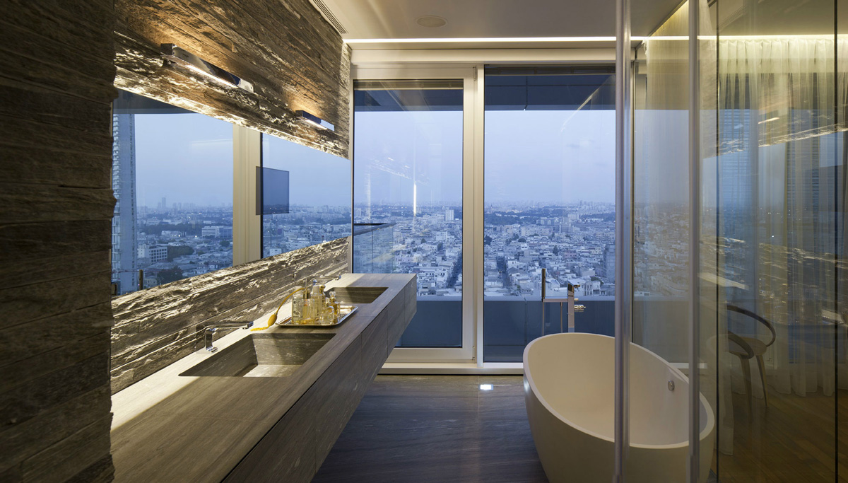 Bathroom, Stone Tiles, City Views, Elegant Apartment with Reflective Ceiling in Tel Aviv, Israel