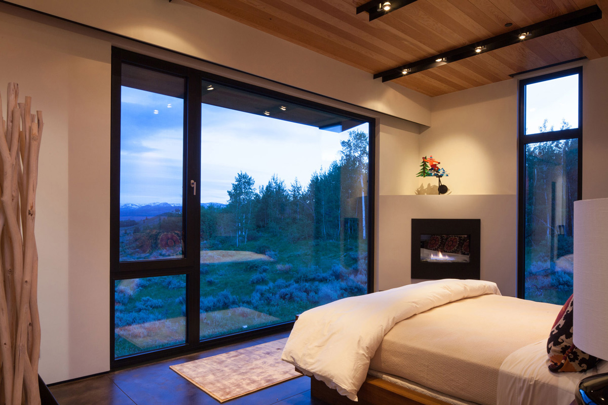 Bedroom, Fireplace, Large Window, Views, Hillside House in Jackson, Wyoming