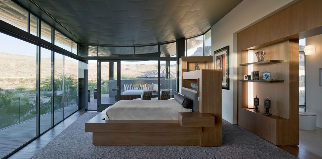 Bedroom, Glass Walls, Hill Views, Massive Modern Home in Las Vegas