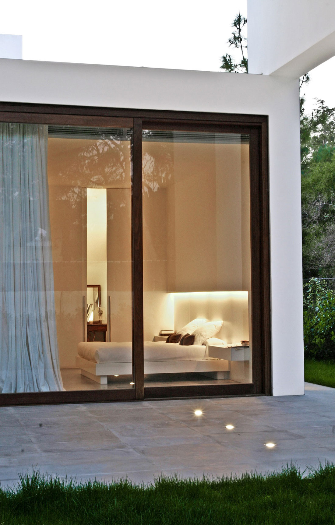 Patio Doors, Bedroom, Lighting, Contemporary Home in Valencia, Spain
