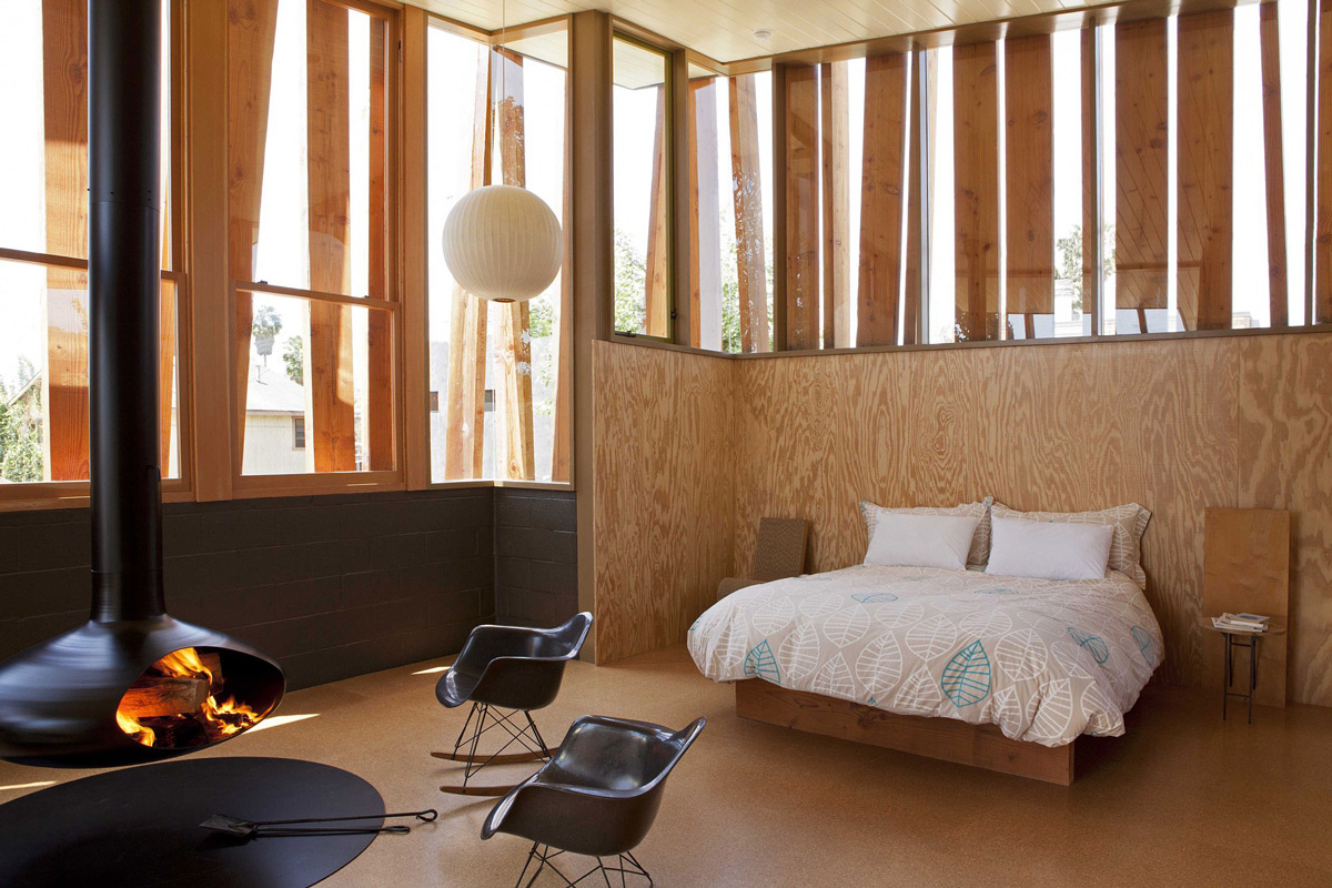 Bedroom, Suspended Fireplace, Wonderful Renovation and Addition in Venice, California