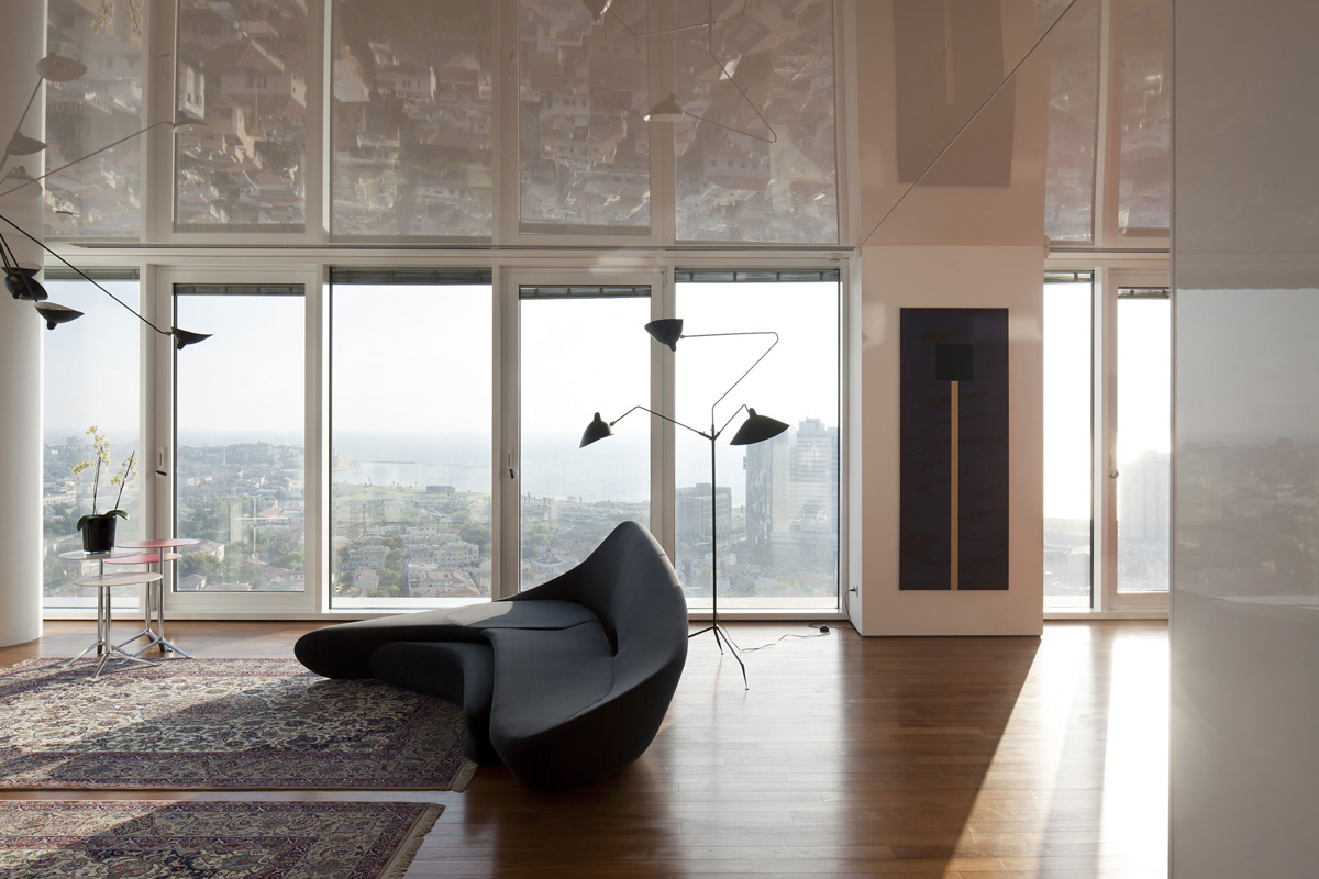 Black Modern Sofa, Glass Walls, City Views, Elegant Apartment with Reflective Ceiling in Tel Aviv, Israel