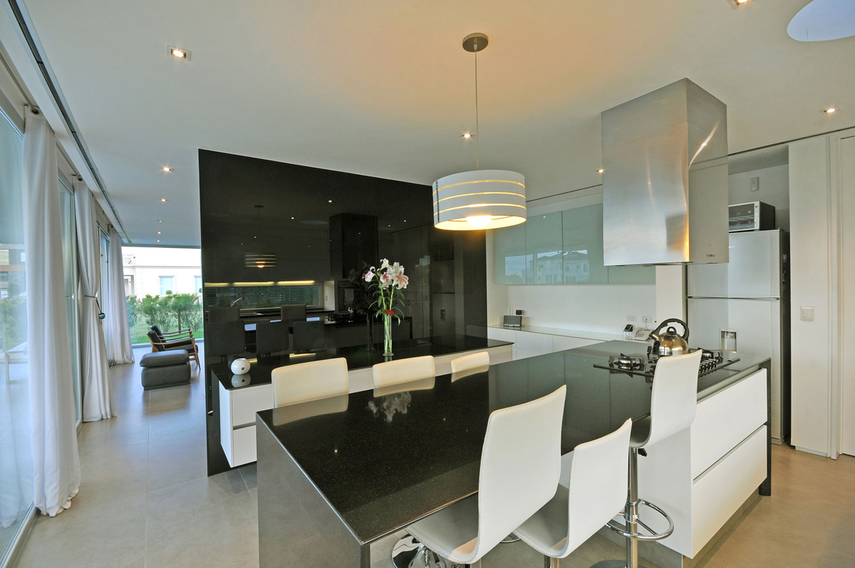 Black & White Kitchen, S-Shaped House in Cabos del Lago, Argentina