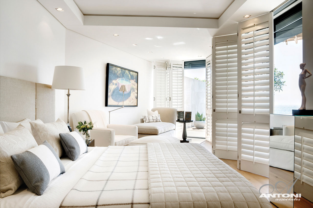 Bright White Bedroom, Seaside Home in Clifton Beach, Cape Town
