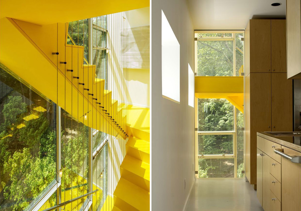 Bright Yellow Stairs, Kitchen, Unique Treetop Home in Upstate New York