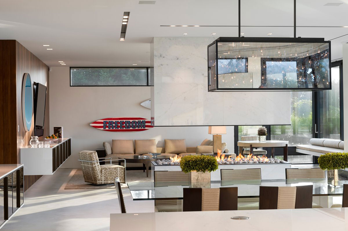 Contemporary Fireplace, Lighting, Glass Table, Living Space, Oceanfront Home in Sagaponack, New York