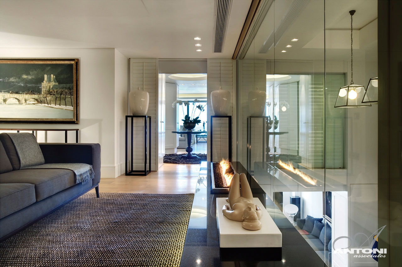 Contemporary Fireplace, Seaside Home in Clifton Beach, Cape Town