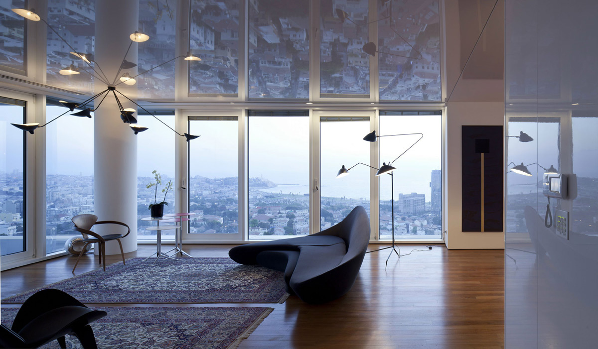 Contemporary Sofa, Lighting, Rugs, Elegant Apartment with Reflective Ceiling in Tel Aviv, Israel