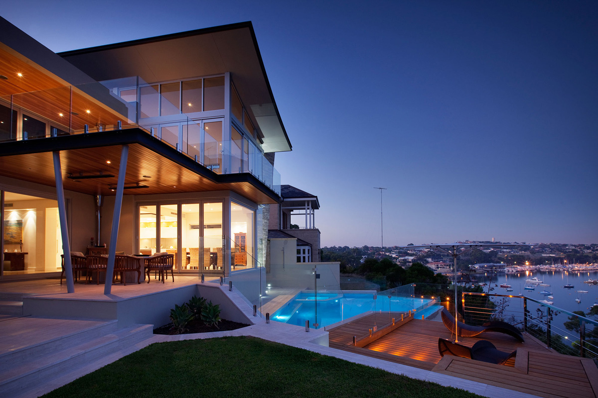 Deck, Pool, River Views, Lighting, Stunning Riverside Home in Perth, Australia