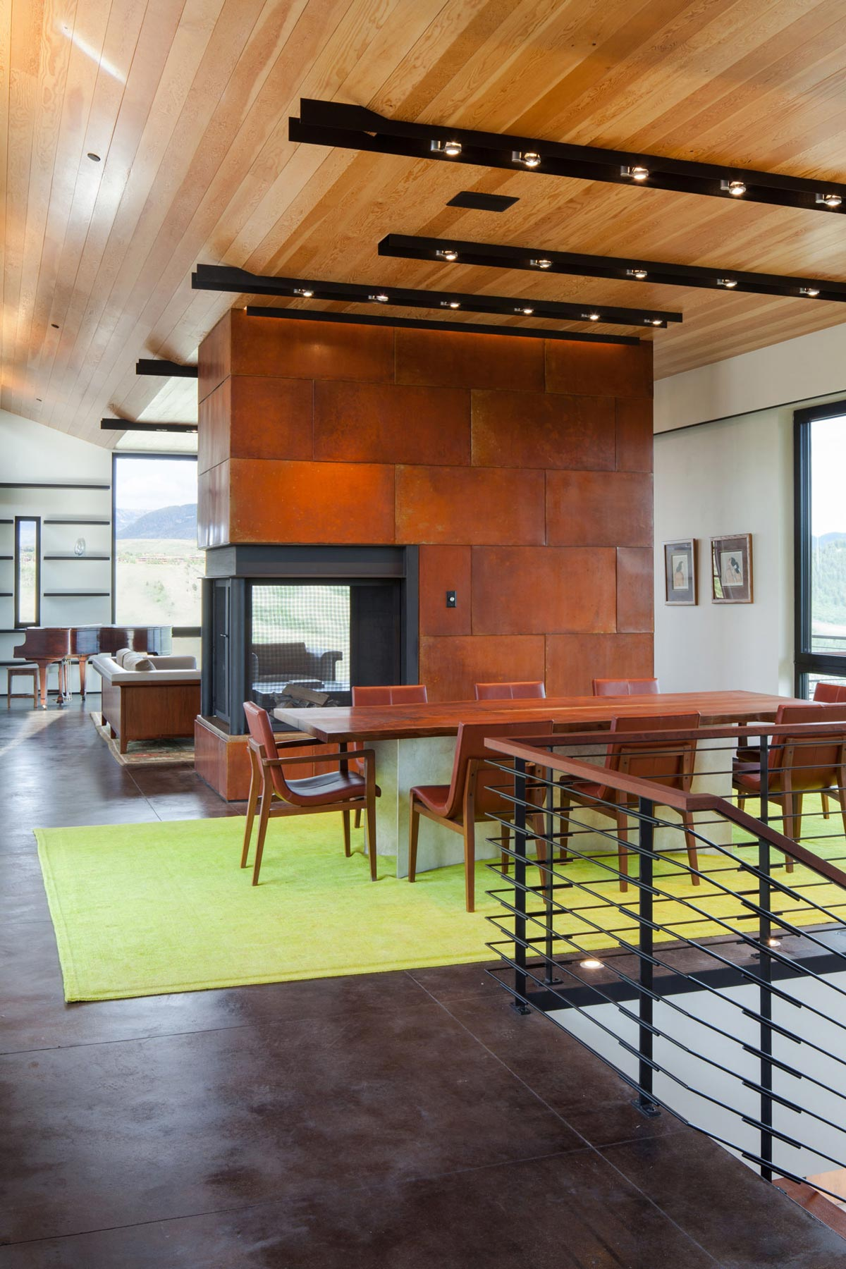 Dining Table, Fireplace, Hillside House in Jackson, Wyoming