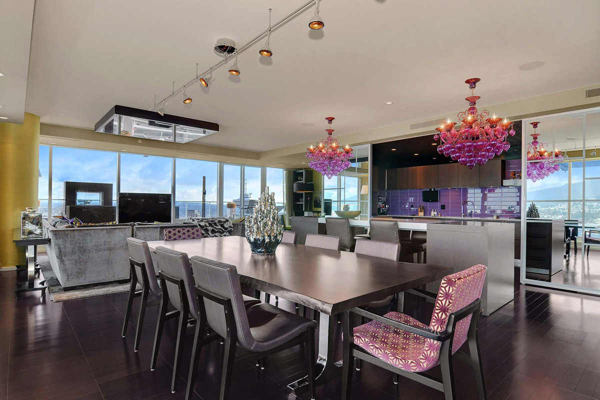 Dining Table, Lighting, Beautiful Apartment with Amazing Views in Vancouver, Canada