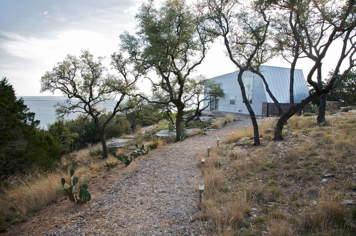 Driveway, Simple Eco-Friendly Home Perched Above Lake Buchanan, Texas